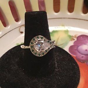 2 ct Emerald & White Topaz Sterling Ring Sz 7